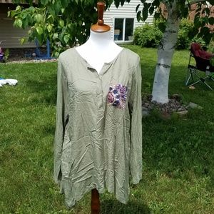 LOGO Olive Tunic with Floral Pocket